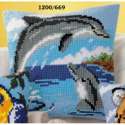 """Набор для вышивания Подушка """"Дельфины"""" 40х40см"""