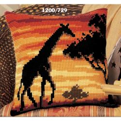 """Набор для вышивания Подушка """"Закат. Жираф"""" 40х40см"""