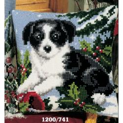 "Набор для вышивания Подушка ""Зимний щенок"" 40х40см"