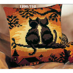 "Набор для вышивания Подушка ""Закат. Коты"" 40х40см"
