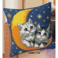 "Набор для вышивания Подушка ""Котята на луне"" 40х40см ""Vervaco"""