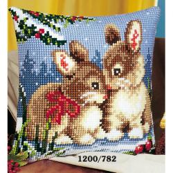 """Набор для вышивания Подушка """"Кролики на снегу"""" 40х40см"""