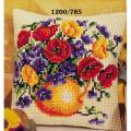 """Набор для вышивания Подушка """"Незабудки в желтой вазе"""" 40х40см """"Vervaco"""""""