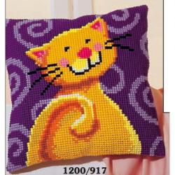 """Набор для вышивания Подушка """"Веселый кот"""" 40х40см"""