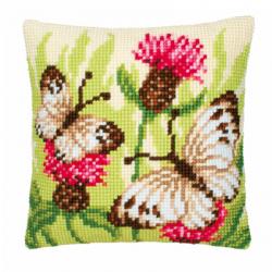 """Набор для вышивания Подушка """"Бабочки в траве"""" 40х40см"""