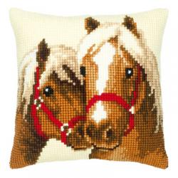 """Набор для вышивания Подушка """"Пара лошадей"""" 40х40см"""