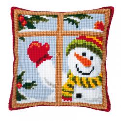 """Набор для вышивания Подушка """"Снеговик в окне"""" 40х40см"""