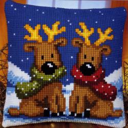 """Набор для вышивания Подушка """"Новогодние олени"""" 40х40см"""