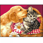 """Канва с рисунком """"Котёнок и щенок"""" 18х24см """"Royal Paris"""""""