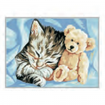 "Канва с рисунком ""Котёнок и мишка"" 22х30см ""Royal Paris"""