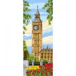 """Канва с рисунком """"Вестминстерские часы"""" 19х49см """"Royal Paris"""""""