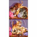 """Канва с рисунком """"Игры котят"""" 53х27см """"Royal Paris"""""""
