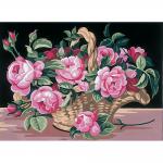 """Канва с рисунком """"Розы в корзине"""" 22х30см """"Royal Paris"""""""