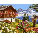 "Канва с рисунком ""Цветы у дома"" 37х47,5см ""Royal Paris"""