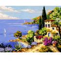 "Канва с рисунком ""Средиземное море"" 37х47,5см ""Royal Paris"""
