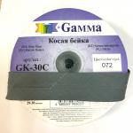 """Косая бейка х/б 40мм цв. 072 т. серый """"Gamma"""""""