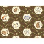 """Ткань для пэчворк (60x110см) 25718DKBRO из коллекции """"Forest florics"""""""