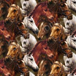 """Ткань для пэчворк (60x110см) 25325BRO из коллекции """"World of Horses"""" """"SPX Fabrics"""" (США)"""