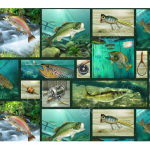 "Ткань для пэчворк (60x110см) 25465GRE из коллекции ""Lakeside reflections"" ""SPX Fabrics"" (США)"