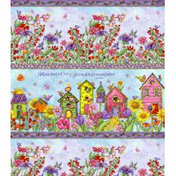 """Ткань для пэчворк (60x110см) 25480MUL из коллекции """"Birdhouse gardens"""" """"SPX Fabrics"""" (США)"""