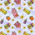 """Ткань для пэчворк (50x55см) 25481MUL из коллекции """"Birdhouse gardens"""" """"SPX Fabrics"""" (США)"""