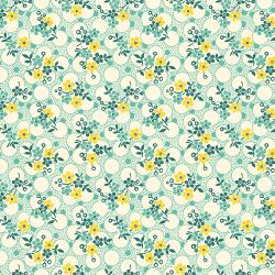 """Ткань для пэчворк (50x55см) 26647GRE из коллекции """"Vintage 30s florals"""" """"Washington Street Studio"""" (США)"""