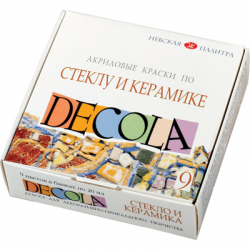 """Набор красок по стеклу и керамике 9цв. """"Decola"""""""