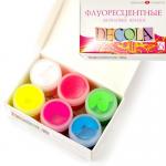 """Набор акриловые флуорисцентные краски 6 цв. """"Decola"""""""