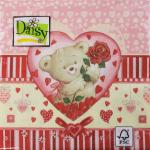 """Салфетка для декупажа """"Мишка в сердце"""" 33х33 см """"Daisy"""""""