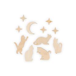 """Заготовка для декорирования """"Набор Кошечки с луной"""" фанера 2-5,5см """"Mr. Carving"""""""