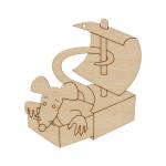 """Заготовка для декорирования Подвеска """"Крыса в коробке"""" фанера 9x8см """"Mr. Carving"""""""