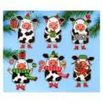 """Набор для вышивания елочных украшений 6шт. """"Новогодние коровы"""" """"Design Works Crafts"""" (США)"""