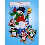 """Набор для создания сапожка из фетра """"Снеговик и пингвины"""" """"Design Works Crafts"""" (США)"""