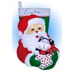 """Набор для создания сапожка из фетра """"Санта с котом"""" """"Design Works Crafts"""" (США)"""