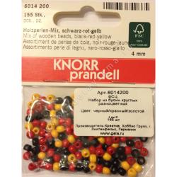 "Бусины деревянные d=4мм 155шт черн-красн-желтый микс ""Knorr prandell"" (Германия)"