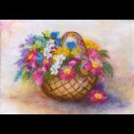"""Набор для картины шерстью """"Корзина с цветами"""" """"Woolla"""""""