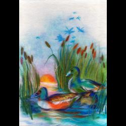 """Набор для картины шерстью """"Утки на озере"""" """"Woolla"""""""