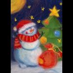 "Набор для картины шерстью ""Новогодний снеговик"" ""Woolla"""