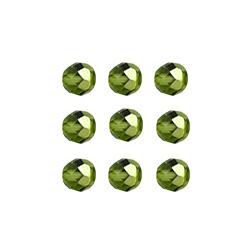 """Бусины стеклянные d=6мм 25шт 97354 зелёный металлик """"Preciosa"""" (Чехия)"""