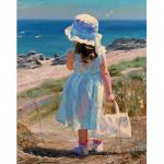 """Набор для картины стразами """"Девочка у моря"""" """"Алмазная живопись"""""""