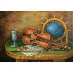 """Набор для картины стразами """"Скрипка и глобус"""" """"Алмазная живопись"""""""