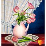 """Набор для картины стразами """"Тюльпаны у окна"""" """"Алмазная живопись"""""""