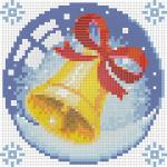 """Набор для картины стразами """"Новогодний шарик с колокольчиком"""" """"Алмазная живопись"""""""