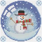 """Набор для картины стразами """"Новогодний шарик со снеговиком"""" """"Алмазная живопись"""""""