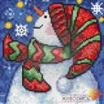 """Набор для картины стразами """"Новогодний снеговик"""" """"Алмазная живопись"""""""