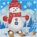 """Набор для картины стразами """"Снеговик на лыжах"""" """"Алмазная живопись"""""""