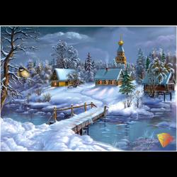 """Набор для картины стразами """"Зима в деревне"""" """"Алмазная живопись"""""""