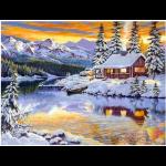 """Набор для картины стразами """"Зимний домик у реки"""" """"Алмазная живопись"""""""