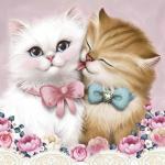 """Набор для картины стразами """"Кот и кошка"""" """"Алмазная живопись"""""""