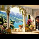 """Набор для картины стразами """"Терраса в Италии"""" """"Алмазная живопись"""""""